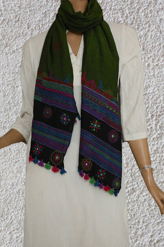 Blackish Green Embroidered Lambani Cotton Stoles