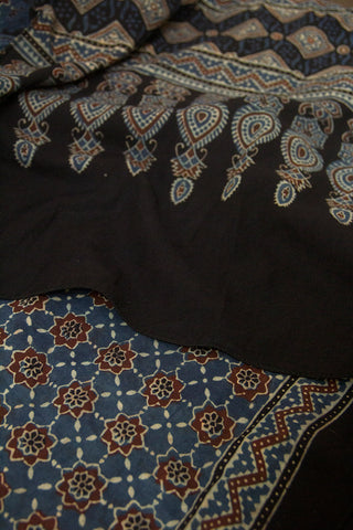 Indigo with Brown Stars Block Printed Ajrak Cotton Stole