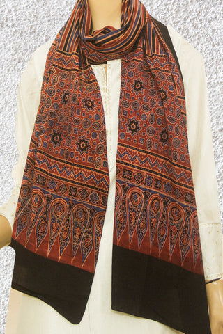 Maroon Lines Block Printed Ajrak Cotton Stole