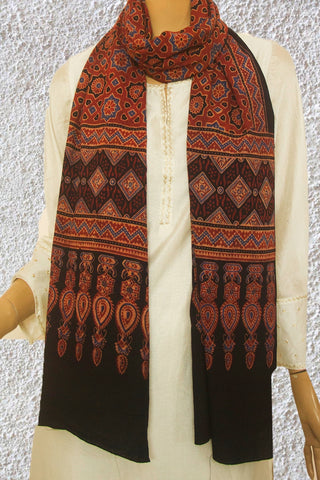Maroon with Indigo Stars Ajrak Cotton Stole