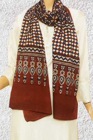 Beige with Indigo Flower Block Printed Ajrak Cotton Stole