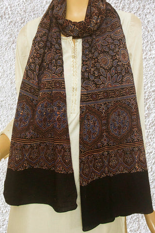 Black Block Printed Ajrak Cotton Stole