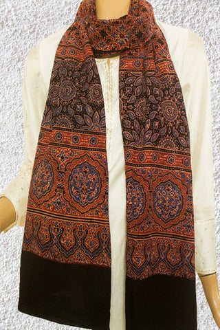 Intricate Border Block Printed  Ajrak Cotton Stole