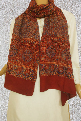Black with Maroon Squares Block Printed Ajrak Cotton Stole