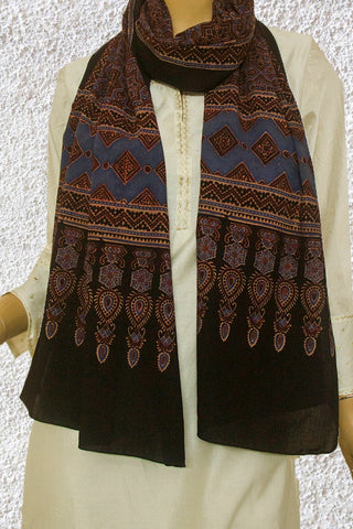 Indigo with Dark Brown Ajrak Cotton Stole