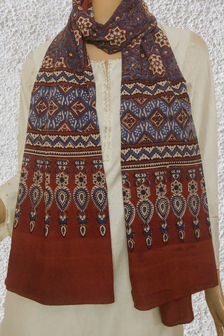 Beige with Maroon Big Stars Ajrak Cotton Stole
