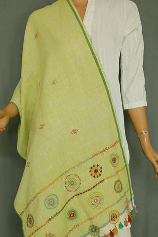 Green with Yellow Lambani Embroidered Khadi Stoles