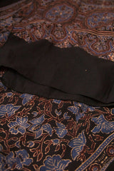 Black with Brown Intricate Border Ajrak Cotton Stole