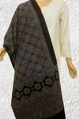 Faded Indigo with Maroon Flower Checks Ajrak Cotton Stole