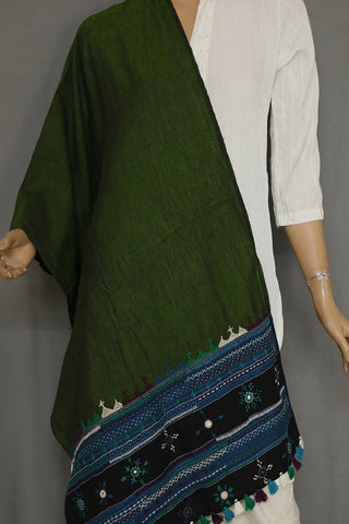 Green with Blue Hand Embroidered Lambani Cotton Stoles