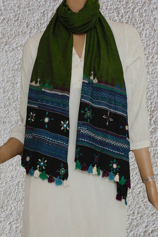 Green Embroidered Lambani Cotton Stoles