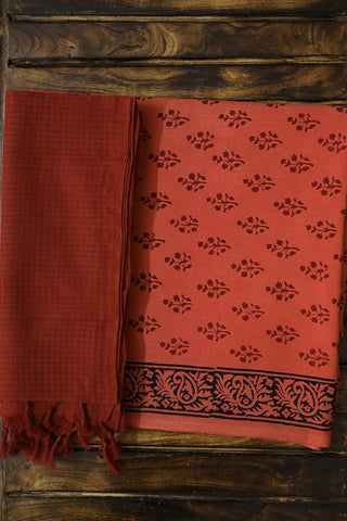 Faded Red Bagh Printed Top with Missing Checks Dupatta