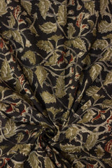 Olive Leaves Floral Block Printed Kalamkari Fabric