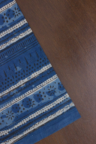 Indigo with Black Dots Bagru Block Printed Cotton Fabric