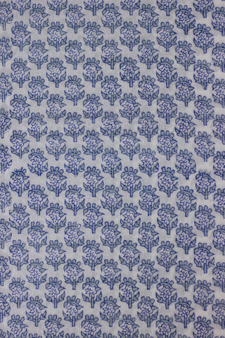Grey Small Floral Mughal Print Mul Cotton Fabric