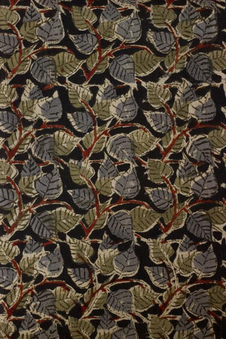 Black with Green Peepal Leaves Block Printed Kalamkari Fabric