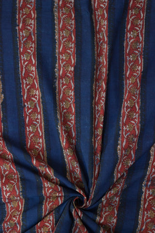 Blue with Fenugreek Floral Bagru Block Printed Cotton Fabric