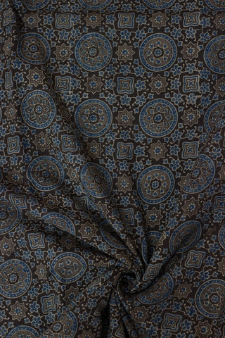 Grey with Blue Circles Block Printed Ajrak fabric
