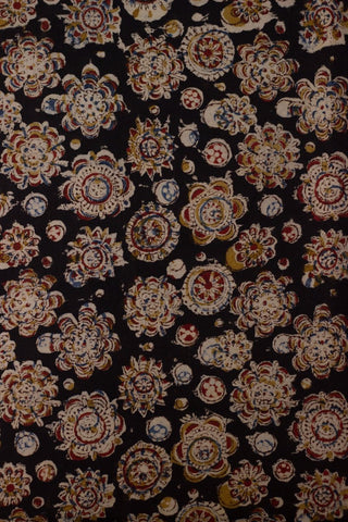 Black with Maroon Flower Circles Printed Kalamkari Fabric