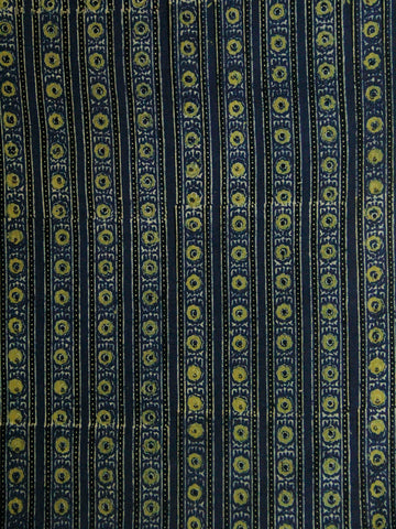 Floral Yellow Lines Block Printed Cotton Ajrak Fabric - 2.3m