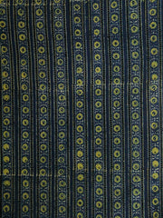 Floral Yellow Lines Block Printed Cotton Ajrak Fabric
