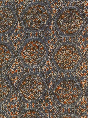 Indigo Intricate Block Printed Ajrak Fabric - 2m