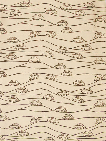 Cars on trail - Hand Printed Cotton Fabric - 1m