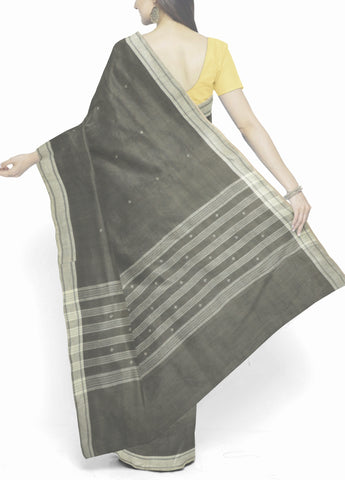 Plus Buta in Grey Handwoven Khadi Cotton Saree