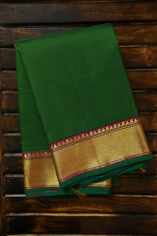 Green Small Checks Kanchi Silk Saree with Zari Border