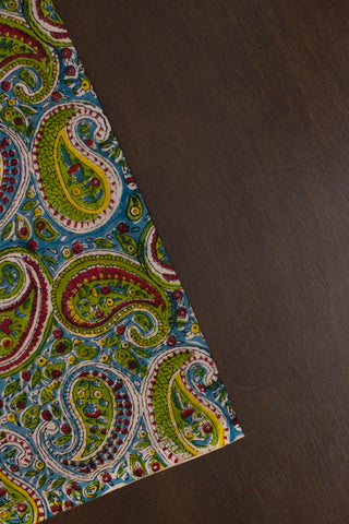 Blue with Green Paisley Sanganeri Hand Block Printed Fabric - 1.6m