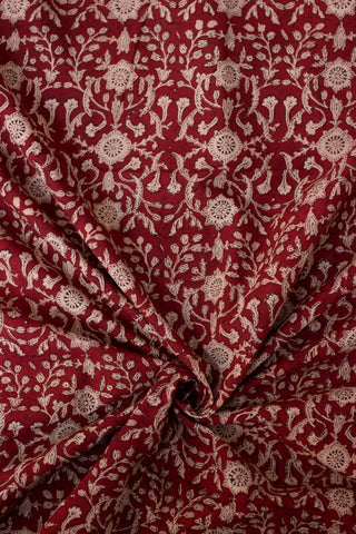 Deep Maroon Floral Bagru Block Printed Cotton Fabric