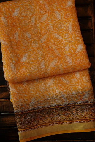 Yellowish Orange Block Printed Kota Silk Saree