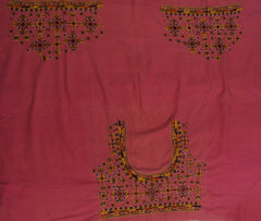 Light Pink with Orange Hand Done Kutch Work Blouse Fabric