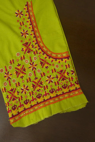 Parrot Green with Purple Hand Done Kutch Work Blouse Fabric