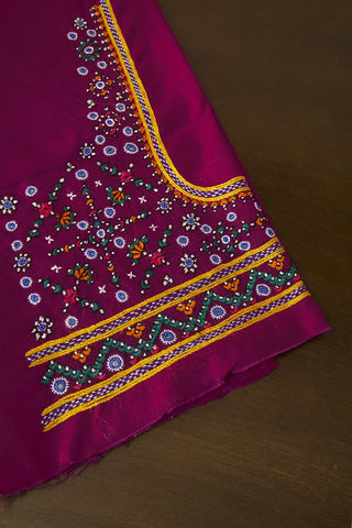 Pinkish Purple  Hand Done Kutch Work Blouse Fabric