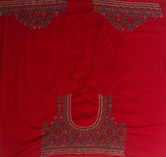 Red with Dark Green Hand Done Kutch Work Blouse Fabric