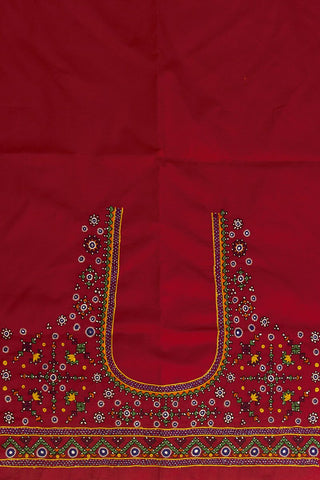 Dark Pink Hand Done Kutch Work Blouse Fabric