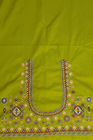Parrot Green Hand Done Kutch Work Blouse Fabric
