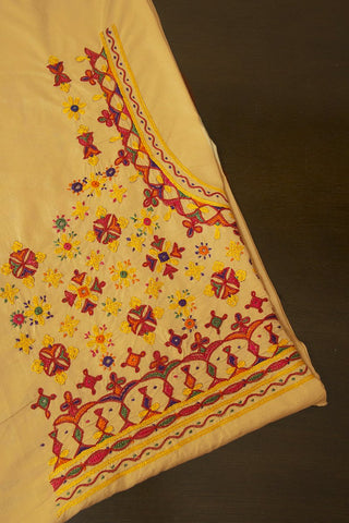 Cream with Yellow Stars Hand Done Kutch Work Blouse Fabric