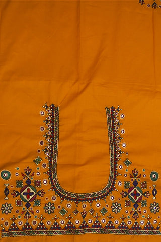 Yellow Hand Done Kutch Work Blouse Fabric