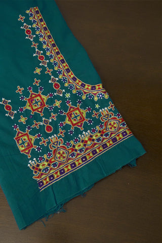 Indigo Blue Hand Done Kutch Work Blouse Fabric