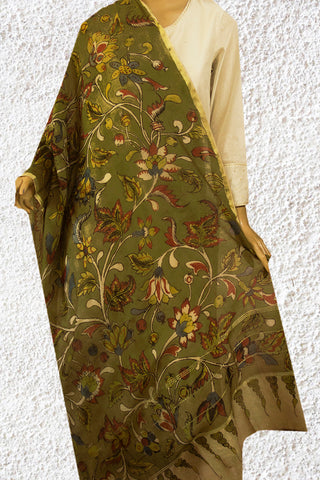 Olive Green with Flower Floral Hand Painted Kalamkari Chanderi Dupatta