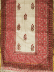 White with Pink Sanganeri Kota Silk Dupatta