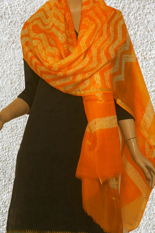 Orangish Yellow with White Shibhori work Kota Silk Dupatta