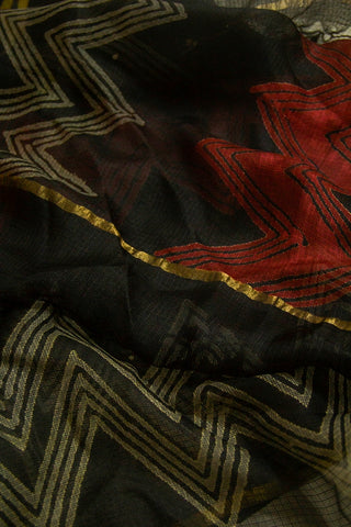 Black with Maroon Zig Zag Kota Silk Dupatta