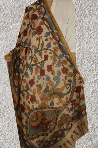 Chanderi Painted Kalamkari Dupatta