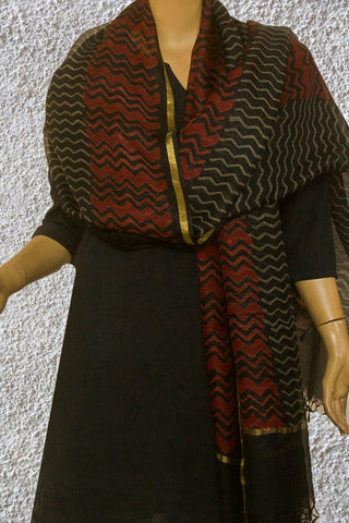 Maroon with Grey Zig Zag Kota Silk Dupatta