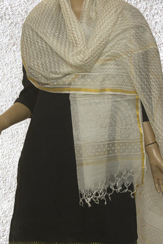 White with Golden Zari Border Kota Silk Dupatta