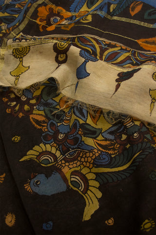 Colour Full Tree Hand Painted Kalamkari Chanderi Dupatta