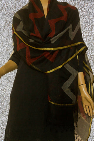 Black with Maroon and Grey Zig Zag Kota Silk Dupatta